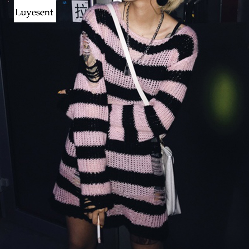 Punk Women Gothic Oversize Long Spilt Sweater Striped Cool Hollow Out Hole Broken Loose Unisex Jumper Rock Pull Stretch Sweter