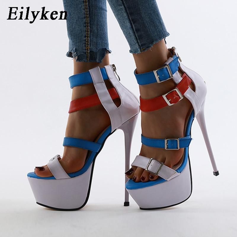 Sandalias de tacón súper alto con plataforma de Eilyken para mujer, zapatos de fiesta nocturna de verano con cremallera de Color mezclado, hebilla de moda de gladiador