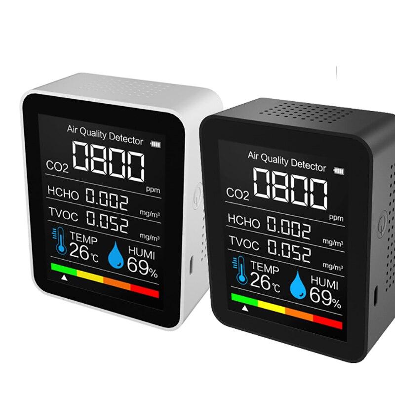 5 in1 co2 medidor de temperatura digital sensor umidade tester monitor qualidade do ar dióxido carbono tvoc formaldeído hcho detector|Analisadores de gás|   -
