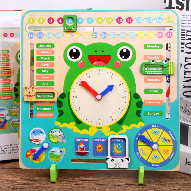 Wooden Weather Calendar Cognitive Alarm Clock Children's Early Education Puzzle Toy Montessori Educational Children's Toys Gift