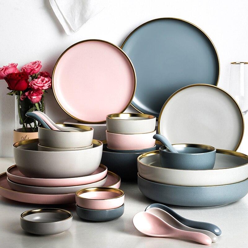Одноцветная керамическая тарелка с золотой инкрустированной керамической пластиной, набор керамической посуды, керамическая тарелка, Украшение стен, керамическая тарелка, аксессуар|Блюдца и тарелки|   | АлиЭкспресс