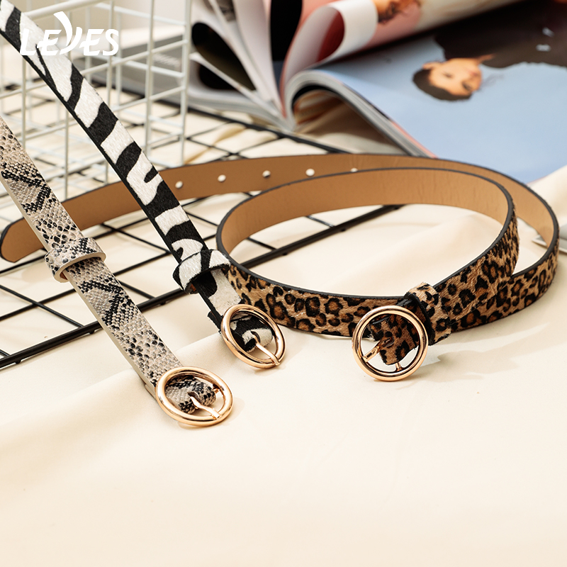 Fashion Belts For Women Leopard Snake Zebra Thin Horsehair Waist Leather Belt Skinny Gold Buckle Slim Belts Sexy Ladies Female