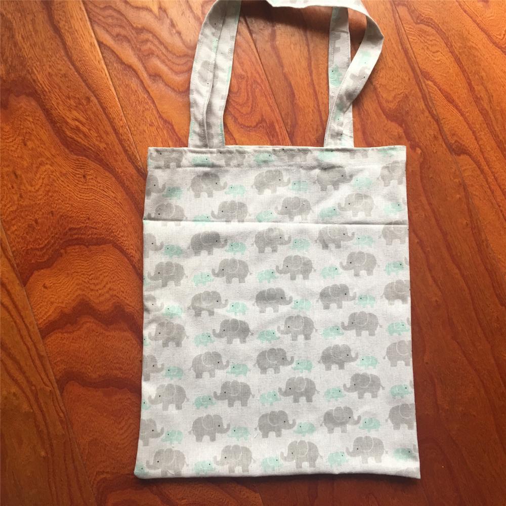 Cotton Linen Eco Friendly Shopping Tote Shoulder Bag Print Elephant Mum & Baby YLLE