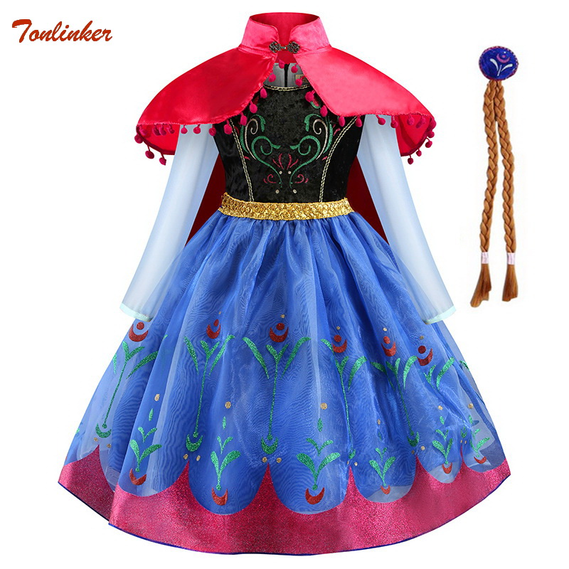 Halloween Princess Anna Party Cosplay Costume Headband For Girls Carnival Kids Dress Up Clothing Birthday Fancy Snow Queen Dress