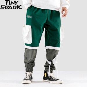 Image 3 - Calças de carga hip hip dos homens multi bolsos 2020 harajuku pant corredores baggy bloco cor retalhos sweatpant streetwear calças pista