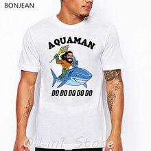 aqua man do letter print t-shirt men graphic tee shirt homme Riding shark funny t shirts camisetas hombre harajuku