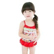 New Model Girls One Piece Swimsuit 2-8 Y Baby Girl Flower pattern Swimwear Children Bathing Suit Kids Swimming wear beach