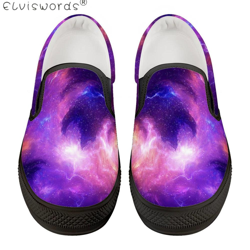 Buy ElVISWORDS Men Leisure Shoes Galaxy Universe Pattern Rubber Shoes Male Spring Summer Slip On Loafers High Quality Flats