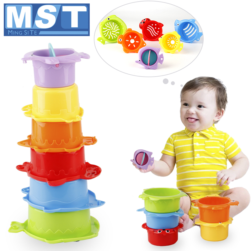 Early Educational Stack Cups Baby Games Bath Water Toys Child Stacking Toys Colorful Rainbow Tower Ring For Beach Swimming Pool