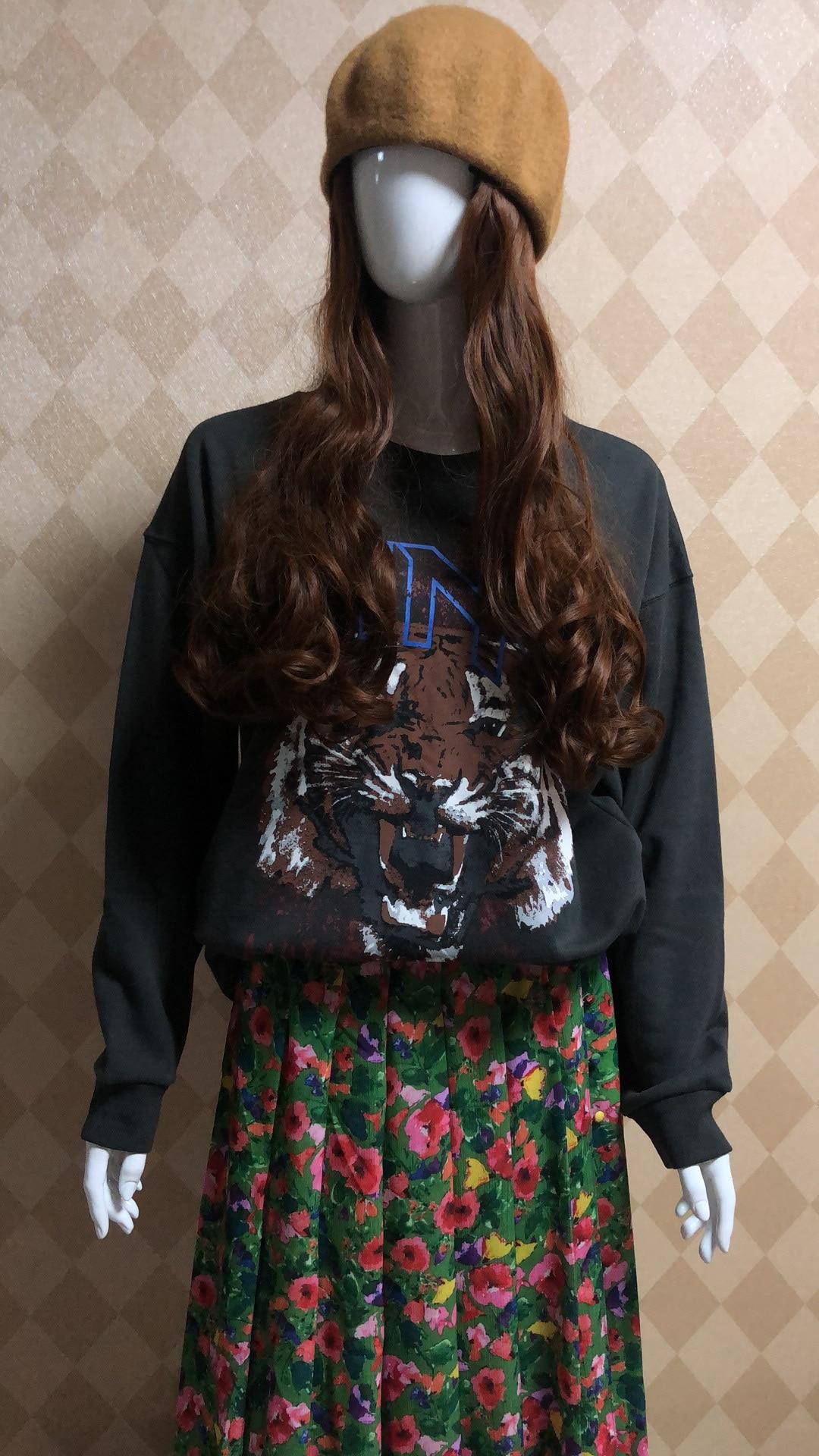 Pullover Sweatshirt Women's Hoodie Tiger-Head-Printed Long-Sleeved Round-Neck