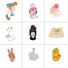 Коллекция жестов! Эмалированные значки с надписью OK YEAH, красные ногти, сердце, руки, пальцы, броши, булавки, модная женская брошь
