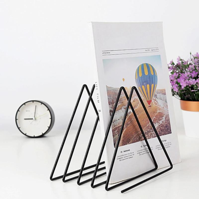 Solid 4 Grid File Storage Shelf Nordic Iron Magazine Book Triangle Stand Holder Desktop Simple Storage Accessories