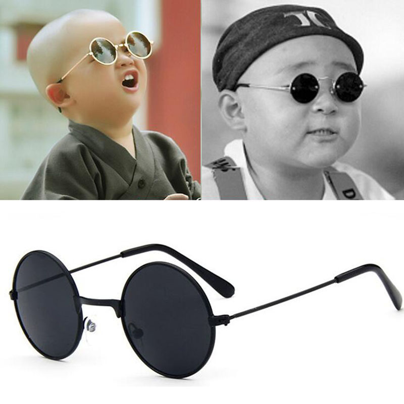 HOOLDW Vintage Small Round Kids Sunglasses Metal Frame Children Sun Glasses Boys Girls Baby UV400 Goggles Glasses Oculos De Sol