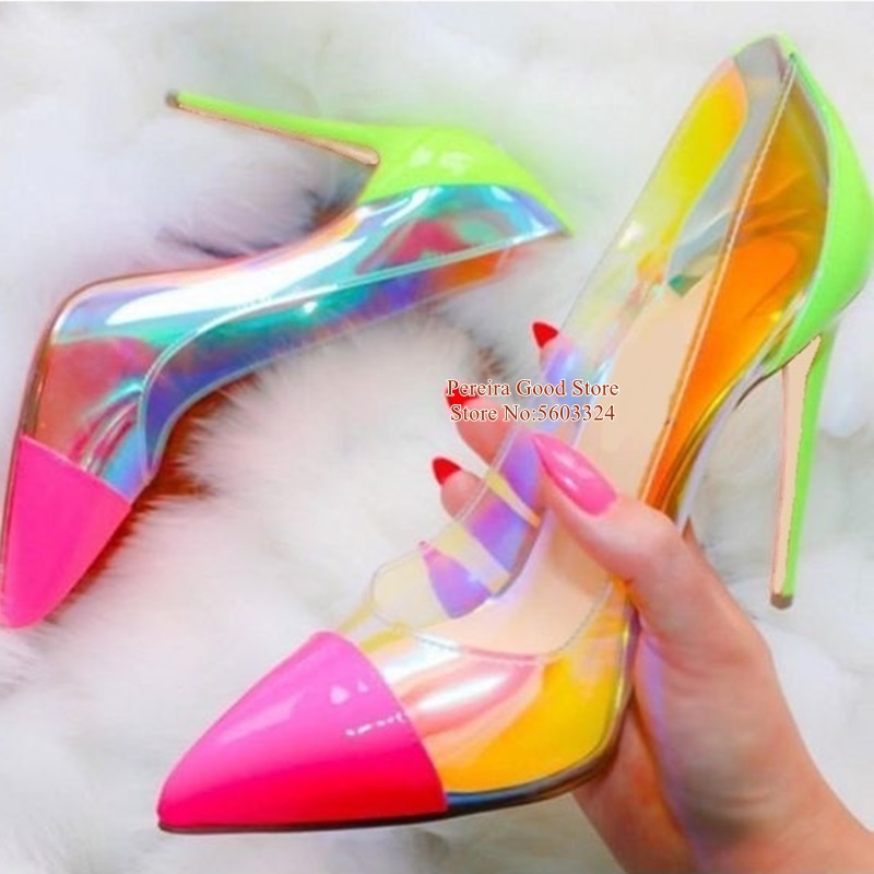 Sexy Iridescent PVC Pumps Mixed Color Stiletto Heel Shallow Dress Shoes 8cm 10cm 12cm Wedding Banquet Shoes Bride Size 45