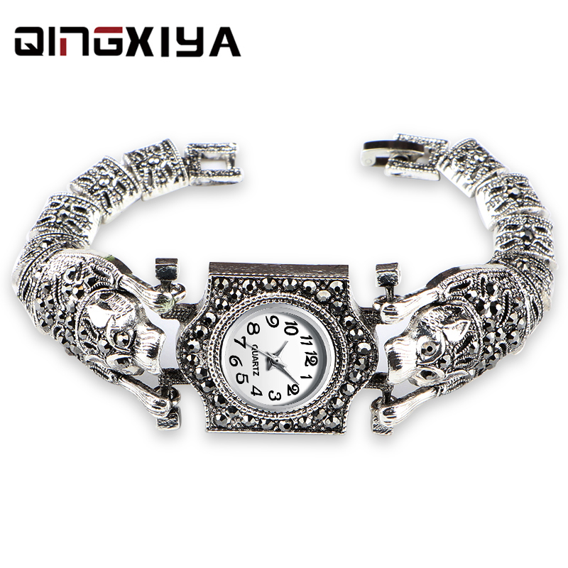 Women'S Antique Silver Bracelet Watch Gray Rhinestone Steel Belt Ladies Watch Round Dial Female Watch Quartz  Female Clock Gift