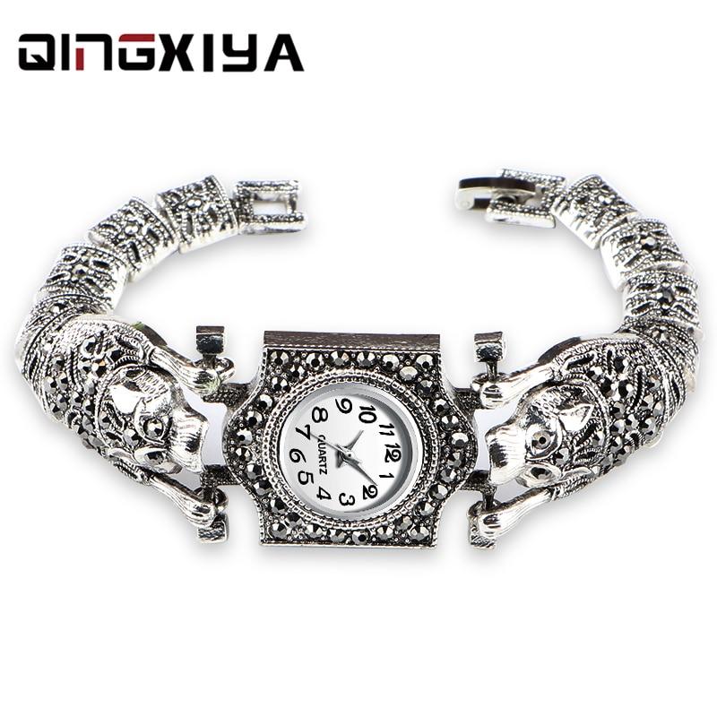 Women'S Antique Silver Bracelet Watch Gray Rhinestone Steel Belt Ladies Watch Round Dial Female Watch Quartz  Female Clock Gift