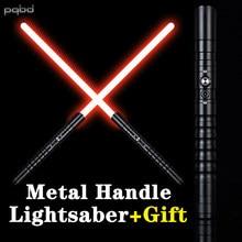 Pqbd black metal lidar com sabre de luz cosplay sabre de luz vermelha força fx foc blaster laser espada led brinquedos presentes personalizados
