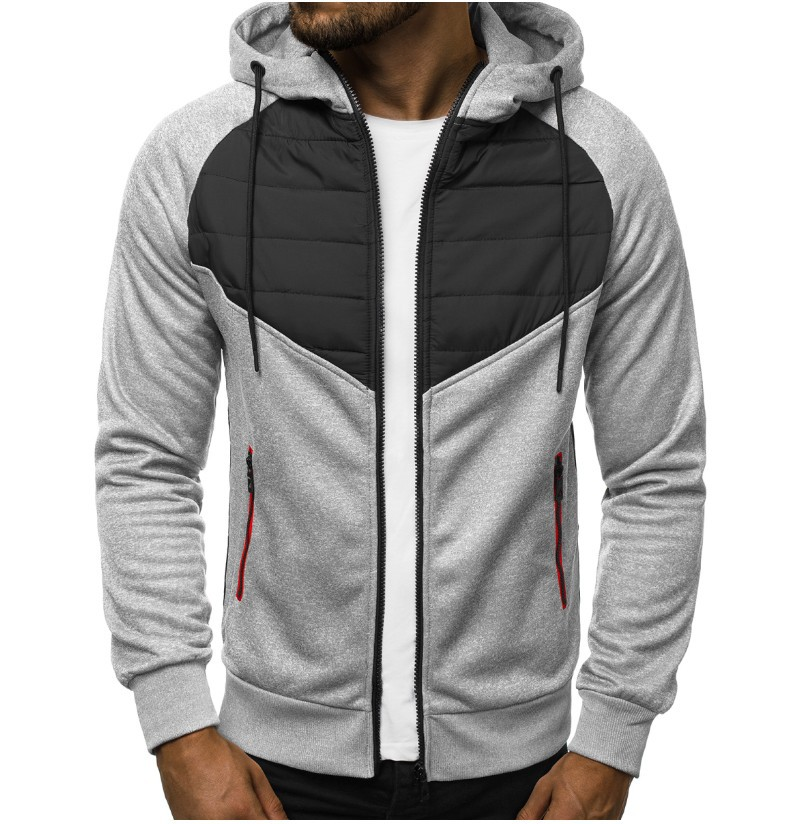 2019 Men's Autumn And Winter Hooded Stitching Zipper Sports Casual Fashion Warm Cotton Jacket Men