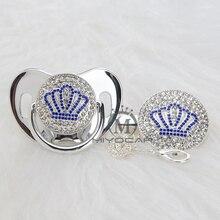 MIYOCAR Oro bella ORO blu bling corona ciuccio e ciuccio clip di set BPA libero dummy bling design unico ABCB 1