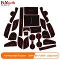 22 шт. резиновый коврик для паза двери автомобиля для Hyundai Tucson 2016 2017 2018 2019 Противоскользящий коврик для интерьера чашки коврик автомобильные ...