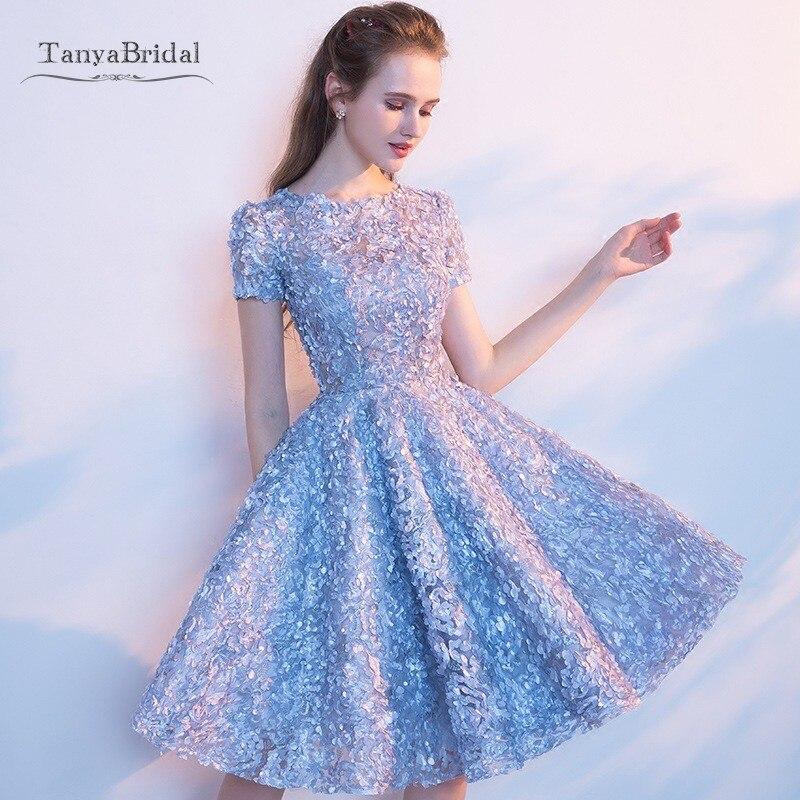 New Short Sexy Flower Cocktail Dresses Short Sleeve Dinner Elegant Lace Vestido Gowns Knee Length Dress