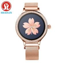 Najnowszy moda kobiety inteligentny zegarek kolorowy ekran IP68 wodoodporna kobieta fizjologiczne przypomnienie dla Apple IOS Bluetooth PK S9