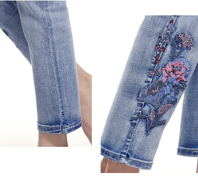 KSTUN FERZIGE high waist jeans women light blue stretch cropped pants embroidery flowers spring and summer jeans slim straight mujer 17