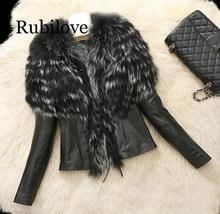 Rubilove Autumn and Winter new pu Long-sleeve Faux fur Coat Imitation Scorpion Wool Sheep Leather Simulation Jacket Brit