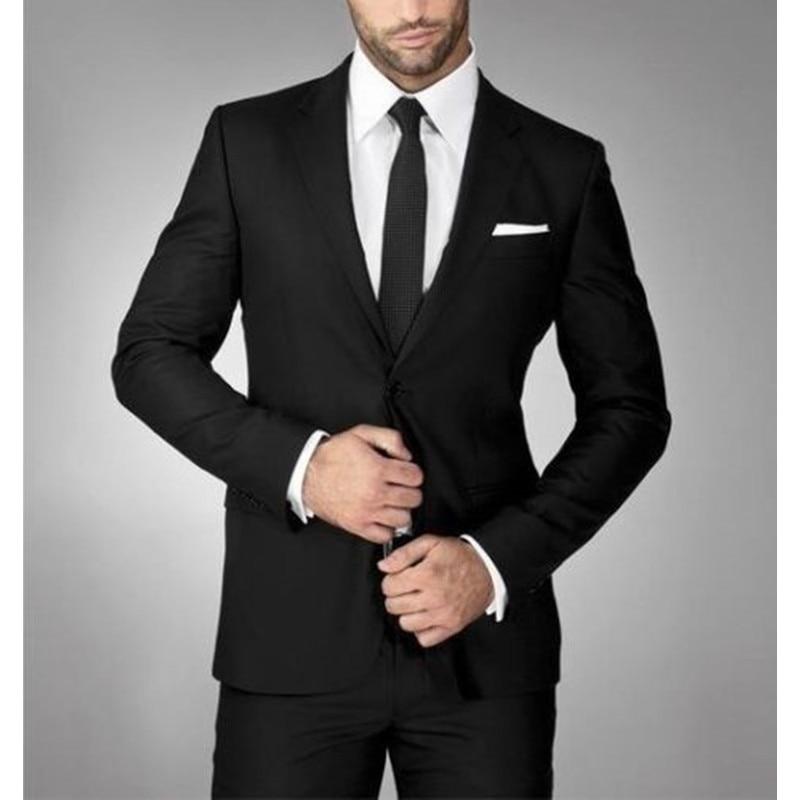 Custom Made Black Men's 2 Piece Wedding Formal Groom Tuxedos Groomsman Best Man Party Suits Men Suits (Jacket+Pants)