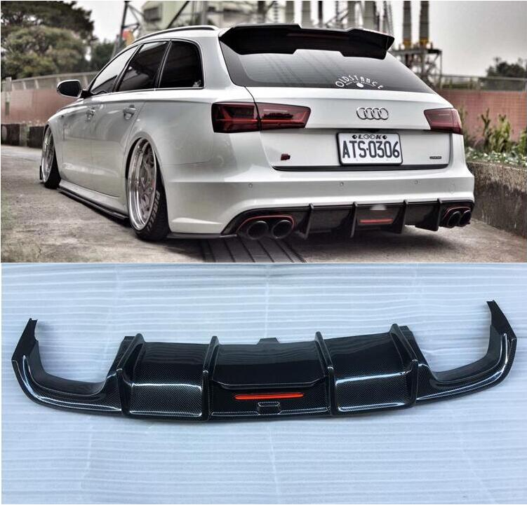 A6 Real Carbon Fiber Rear Bumper Lip Spoiler Diffuser Rear Lip For Audi A6 S6 RS6 Avant Allroad 2016 2017 2018 2019 image