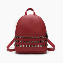 Women Mini Backpacks High quality PU Leather Fashion Girl Rivet Backpack  Female Small Bag free shipping real photo 2017 mini pu mini backpack cheap women backpacks black bb108