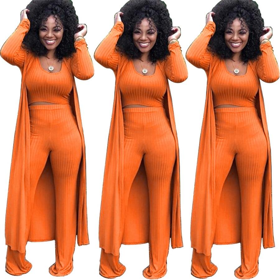 2019 Casual 3 Piece Set Top+Long Pants Women Set Fall Fashion Long Sleeve Wide Leg Knit Sexy Women Clothing Pants