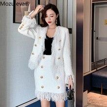 Mozuleva Two Pec Tweed Wool Women Set 2019 Winter Golden Button White Jacket Coa