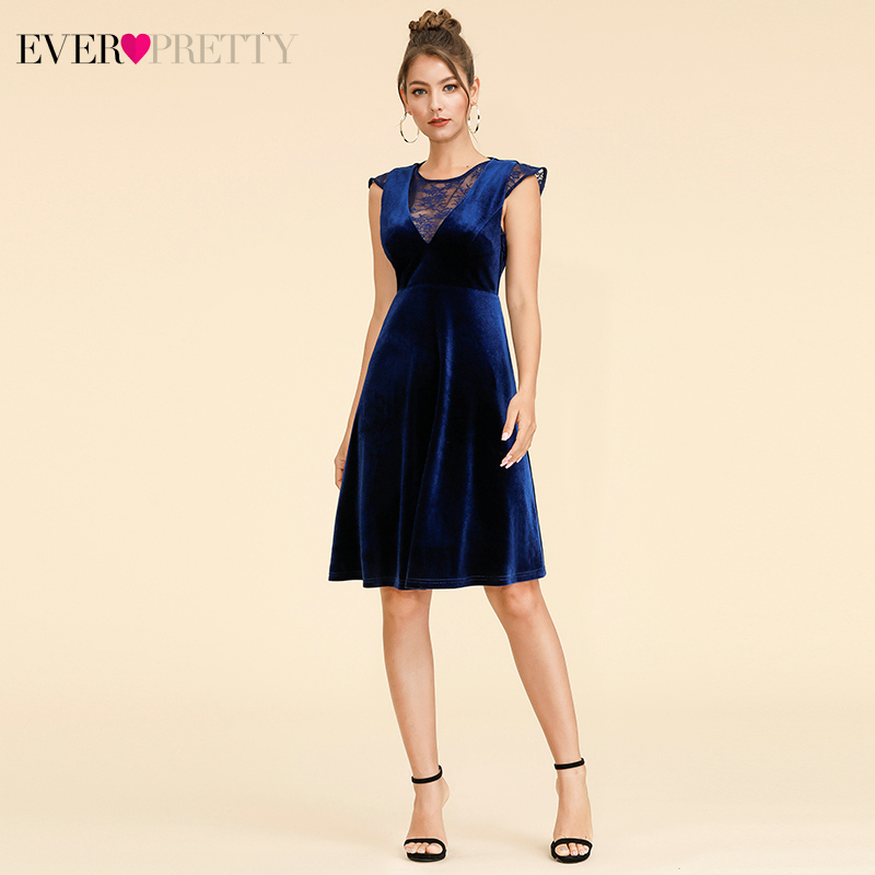 Sexy Velvet Cocktail Dresses Ever Pretty AS05897 A-Line Mini V-Neck Cocktail Party Dresses With Ruffles 2020 Women Lace Dresses