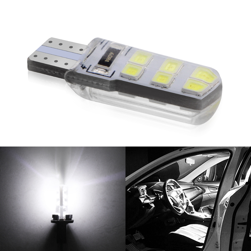 1Pcs White Car LED T10 W5W DC 12V Canbus 12 SMD Silicone Waterproof 194 LED Wedge Lights No Error Bulb Parking Fog Light Bulb