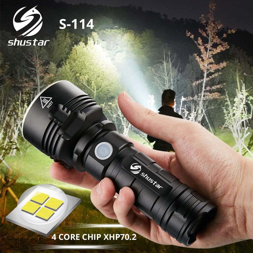 S114 LED très brillante lampe de poche 4 core XHP70.2 torche LED tactique étanche camping chasse lumière Ultra lumineuse lanterne
