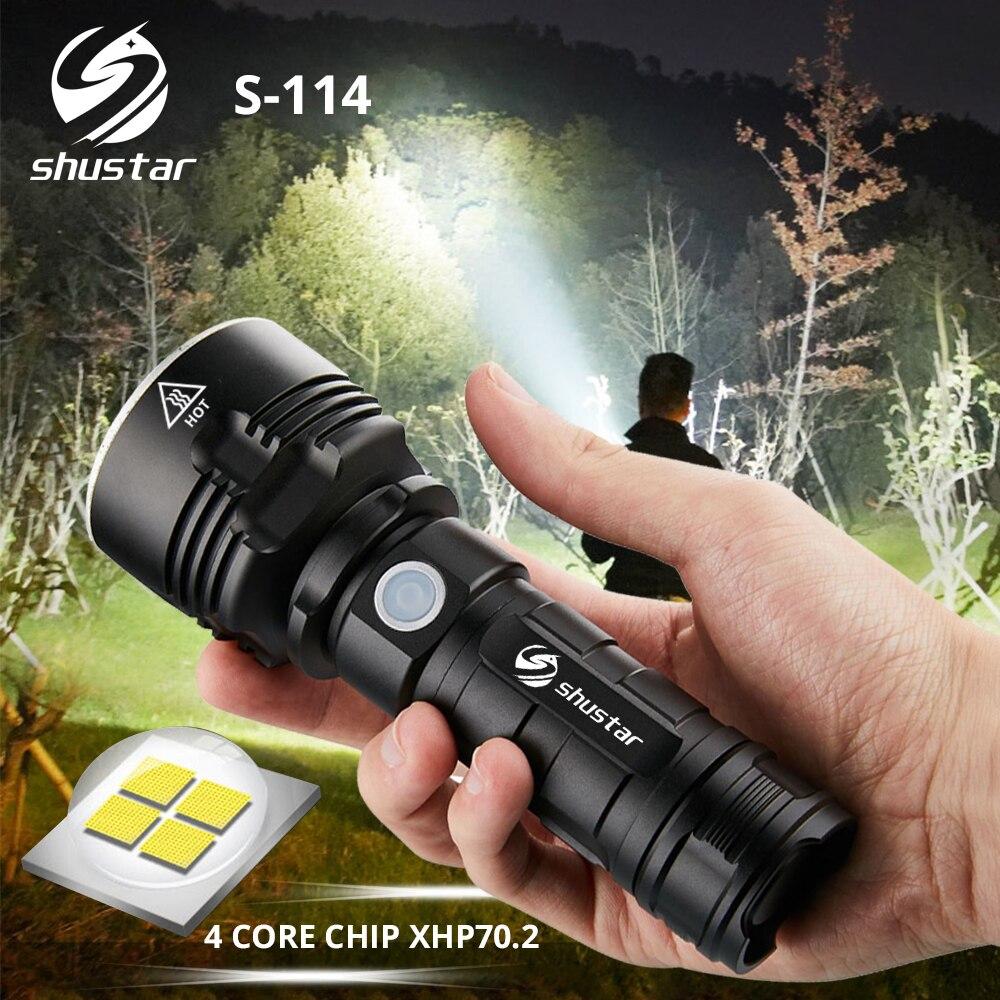4 core XHP70.2 S114 Lanterna LED Super brilhante Lanterna LED Tático camping caça luz Ultra Brilhante Lanterna à prova d' água