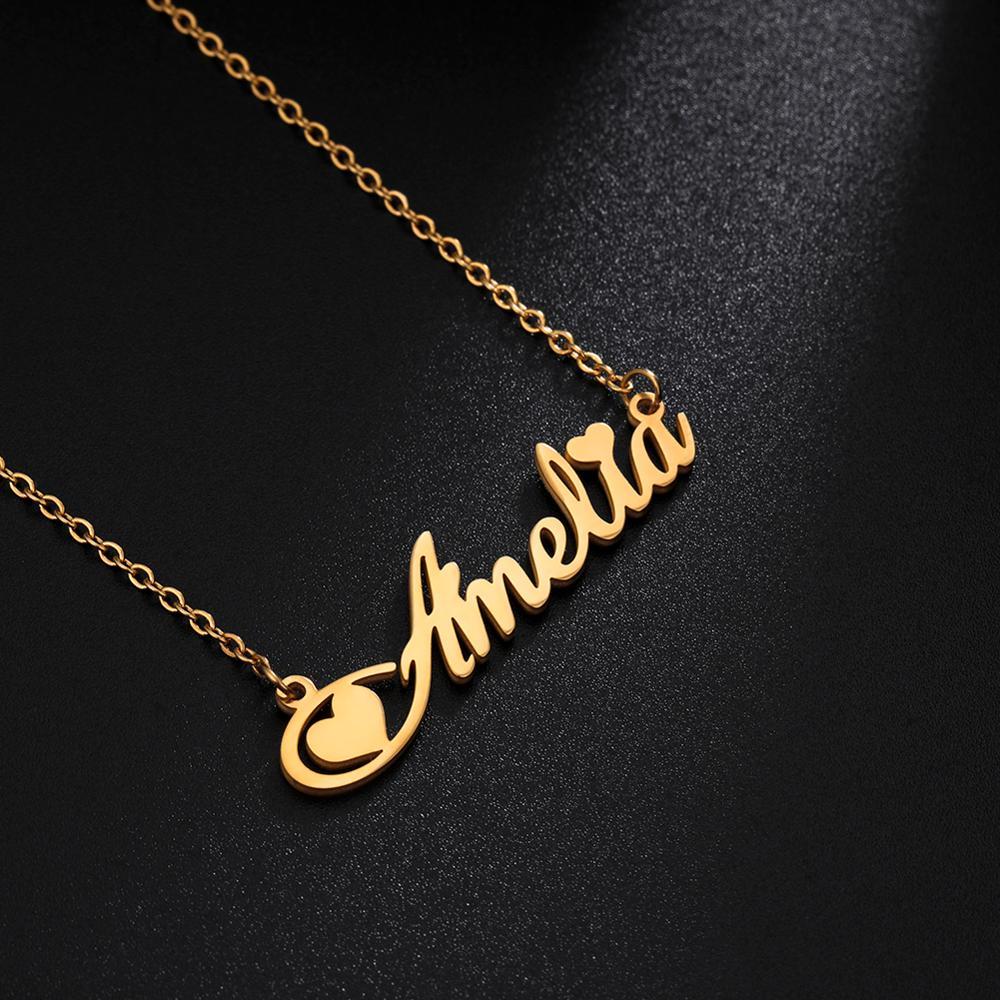 Ожерелье Cazador с именем на заказ, ожерелья из нержавеющей стали для женщин, подвеска-цепочка золотого цвета, Индивидуальные ювелирные издели...