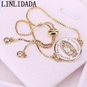 Image 2 - 12Pcs White color Enamel Round Connector Bracelets Adjustable Golden Jewelry