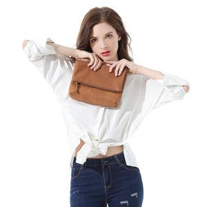 Image 3 - Bolso de hombro suave para mujer, bandolera con solapa, bolso de mano de PU marrón, tipo sobre, bandolera sencilla para uso diario, CT30080