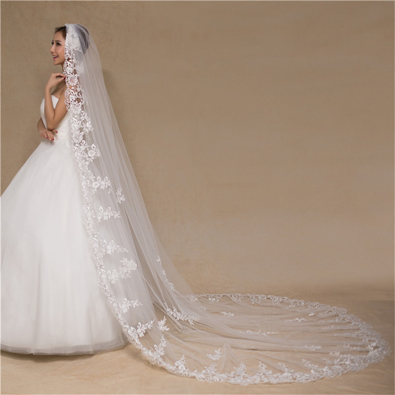 One Layer Long Bride's Wedding Veil 3M Length Bride's Veil With Comb Cathedral Headdress Soft Tulle White Ivory Bridal Headdress