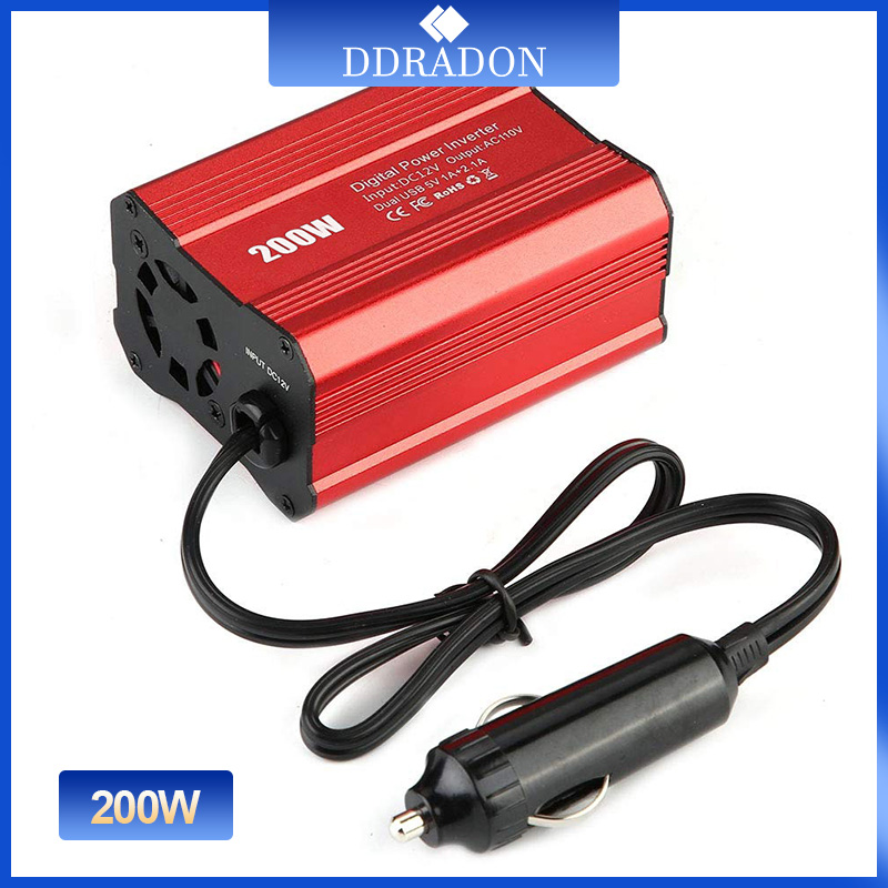 Автомобильный инвертор напряжения, 200 Вт, 12 В, 220 В и 110 В переменного тока, конвертер автомобильного зарядного устройства, адаптер, модифицир...