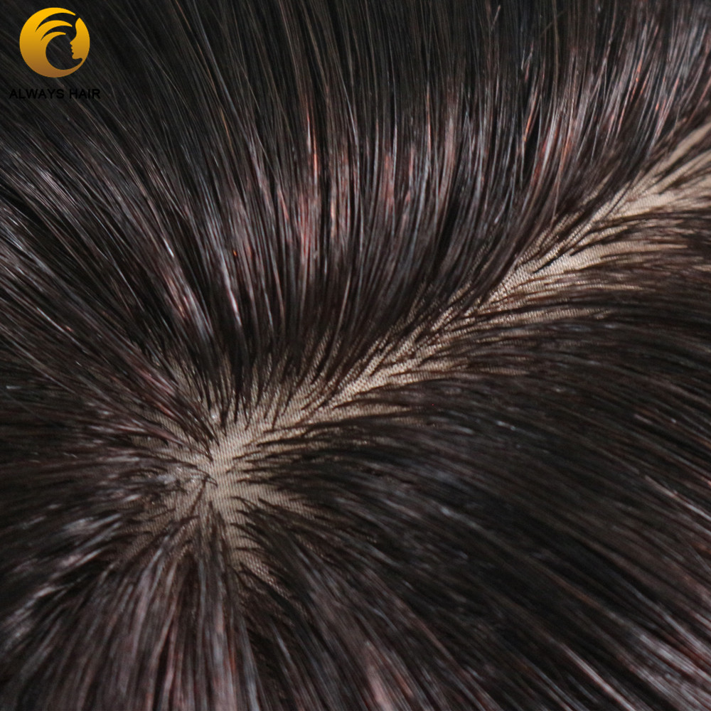"Image 4 - Silk Base Indian Remy Human Hair Mens Toupee Natural Scalp Straight Natural Color 6""x8"" 7""x9"" 8""x10"" Hair Sytem for MaleToupees   -"