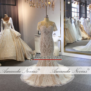 Image 4 - Full beading lace wedding dress champagne color with detachable train 2019 wedding gowns