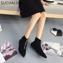 SUOJIALUN Women Shoes 2019 New Short Boots Pointed Toe Flock Ankle Autumn Winter Warm Outdoor Boot Zipper Causal Flat Shoe