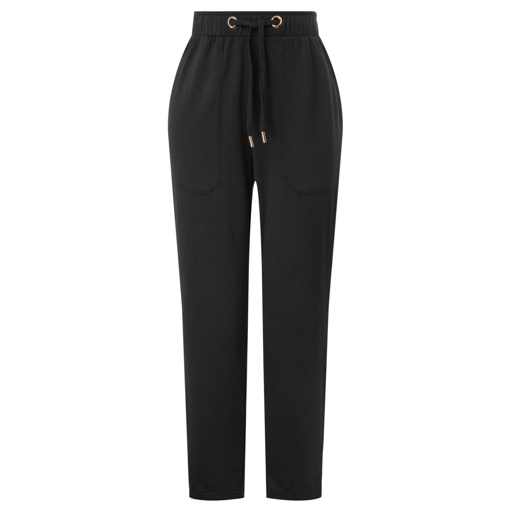 Women Drawstring Waist   Pants     Capri   Pockets Elastic Waist Jogging black trousers leisure solid color slim ankle-length   pants   lady