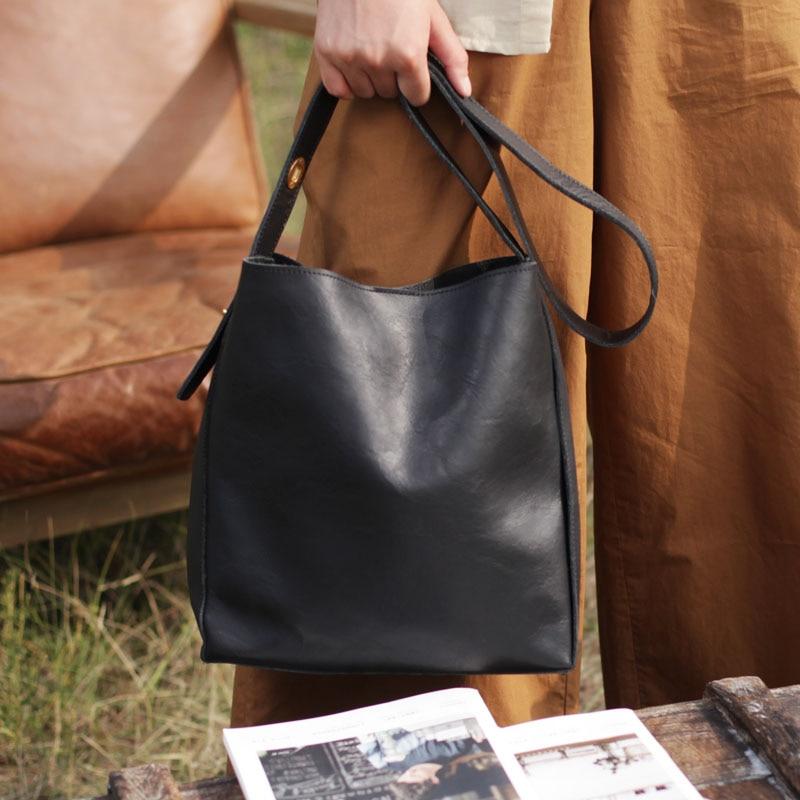 AETOO Nuovo grande capienza singolo sacchetto di spalla nero in pelle morbida cinghia di spalla larga in pelle borsa secchiello verticale borsa di grandi dimensioni - 2