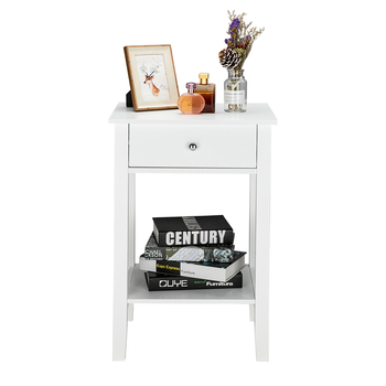 Nightstand Drawer Organizer Storage Cabinet Bedside Table Bedroom Furniture Woode Nordic White Solid Wood