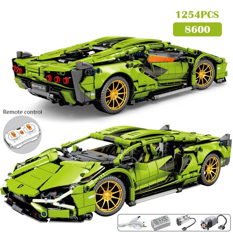 1254 pces cidade moc rc/não-rc super esportes carro de controle remoto de corrida veículo técnico blocos de construção tijolos brinquedos presentes para crianças