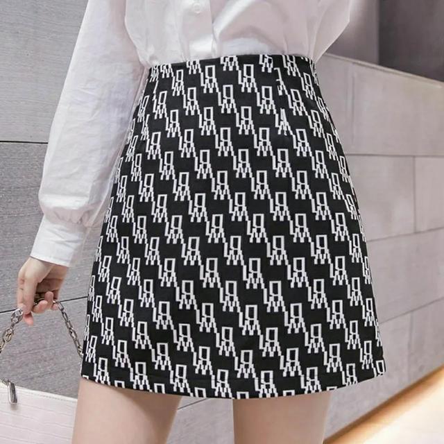 Women High waist Skirt short Spring Autumn Casual Kawaii A-line Skirts Japanese School Uniform Letter printing Mini Skirts 1